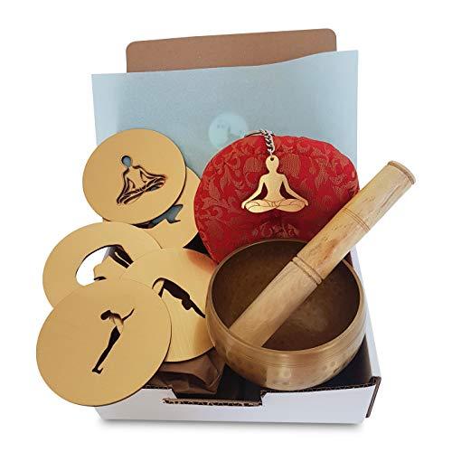 Yoga-Geschenk-Set, Yoga-Geschenkkorb, Lieferung vor Weihnachten, Set mit 5 Untersetzern, Klangschale, Yoga-Schlüsselanhänger, Yoga-Geschenk, Yoga-Lehrer