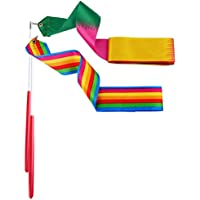Whaline Dance Ribbons Rhythmic Gymnastic Ribbon for Kids, Baton Twirling, Dancing Streamers, 2 Pieces