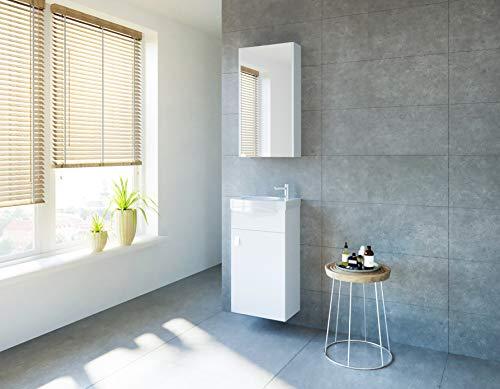 Planetmöbel Badmöbel Set Gäste WC Waschtischunterschrank Keramikwaschbecken Spiegelschrank Weiß