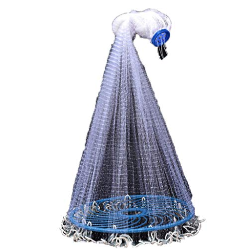 ATR Big Frisbee Type Net Fishing Werfen von Hand Werfen von Fischen Automatisch Leichtes Schleudern des Netzes Höhe 1,8 Meter (Stahlfall), ca. 1 cm Masche (Größe: Nettohöhe 3,0 Meter (Stahlfall) (Fische Net Werfen)