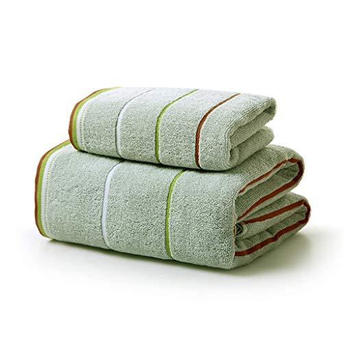 Asciugamano da bagno in cotone per adulti set di due pezzi combinazione di cotone di alta qualità selezionato 1 asciugamano da bagno + 1 asciugamano 70 * 140 cm (colore : green)