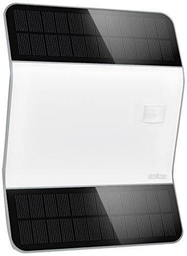 Steinel LED-Solar-Leuchte Xsolar L2-S silber, 170° Bewegungsmelder, LED Wandleuchte, 2500 mAh LiFe Akku, mit Hausnummern