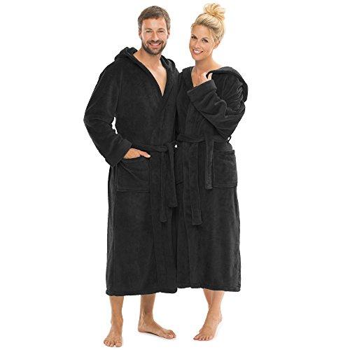 CelinaTex Florida Bademantel mit Kapuze XL schwarz Coral Fleece Damen Saunamantel Herren Morgenmantel Hausmantel