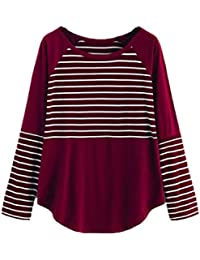 f337f5489e066 T-Shirt Femmes Chic Longra Rayé Col rond Manches longues Tops Tee shirt  Slim Fit