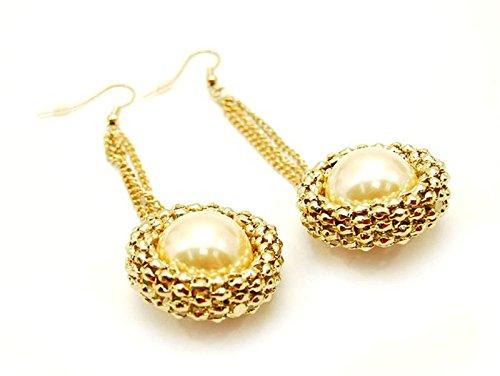 Catena in oro a maglie circolari, serie pearl-Orecchini alla moda da (Maglia Degli Orecchini In Oro Orecchini)