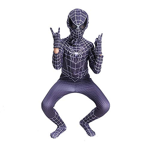 QAZ Spiderman Trikot Kinder Kostüm Halloween Kostüm Für Erwachsene Cosplay Spiderman Kostüm Spiderman Costume,Black-130cm