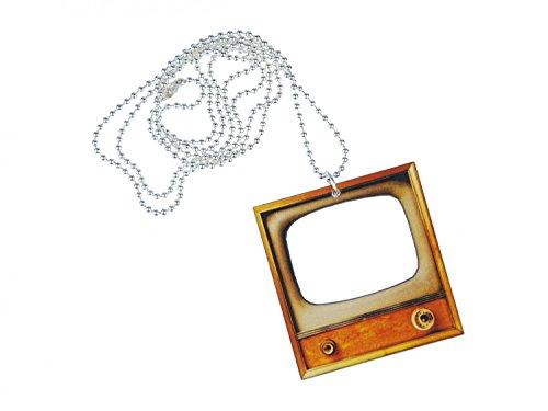 Miniblings Retro Fernseher Kette Halskette 80cm Serien Filme Nachrichten Lasercut
