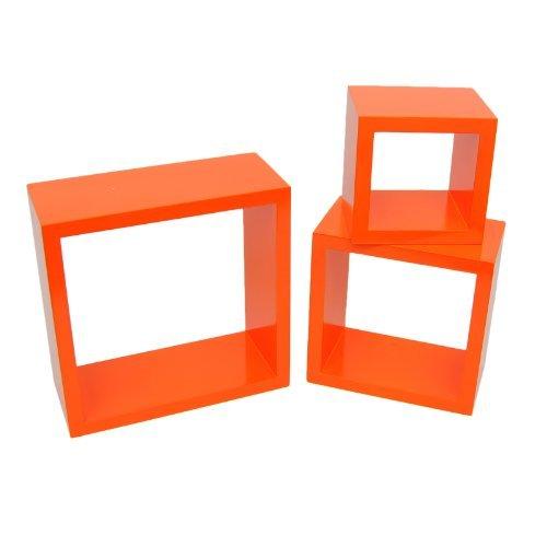 TS Ideen 7125 Set di 3 Mensole a Cubo da Parete Stile Retro, MDF, Arancio