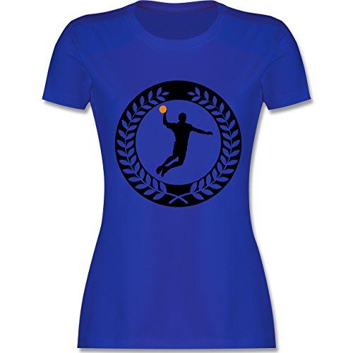 Handball - Handball Sichel Kranz - S - Royalblau - L191 - Damen T-Shirt Rundhals