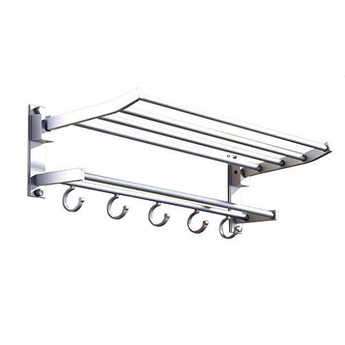 QXX Aluminiumlegierungs-Tuch-Schienen-Badezimmer-Gestell-Doppelschicht-faltender Tätigkeits-Tuch-Stab (größe : 60cm)