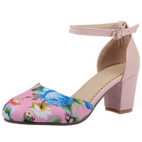 TAOFFEN Femme Mode Mariage Chaussures Sangle De Cheville Boucle Fleur Talon Bloc Sandales Rose
