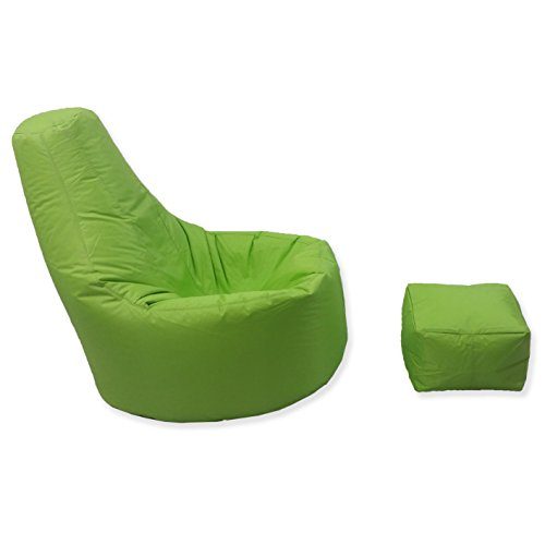 Large Gaming Beanbag Indoor And Outdoor Garden Lounge Gamer Chair with matching Foot Stool in Lime Green High Quality Water Resistant Material by MaxiBean - 2