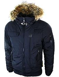 Mens Padded Winter Short Bomber Jacket Blue Black Fur Hooded Casual Slim Fit