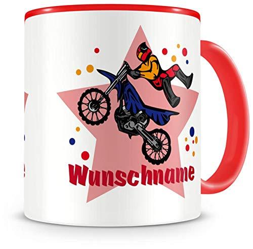 Samunshi® Kinder-Tasse mit Namen und einem Motorrad Fahrer als Motiv Bild Kaffeetasse Teetasse Becher Kakaotasse Nr.1: rot H:95mm / D:82mm
