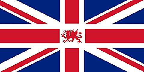 magFlags Drapeau Large UK+Wales | Proposed version of the Union Jack including the Welsh dragon | drapeau paysage | 1.35qm