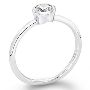 Zertifikat Klassischer 18 Karat (750) Gelbgold Damen - Diamant Ring Round 0.28 Karat F-SI2 (Ringgröße 48-63)