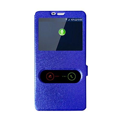 Gionee Marathon M5 Plus Hülle LifeePro Ultra Slim [Anti-Scratch] Stoßfest Flip PU Leder Buchstil Folio Stand Schutzhülle mit Sichtfenster für Gionee Marathon M5 Plus Blau