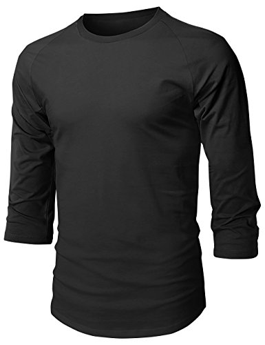 Hat and Beyond Herren Baseball Raglan 3/4 Ärmel einfarbig Casual Tee Basic Active T Shirts, Herren, 1hc08_Black/Black, X-Large -