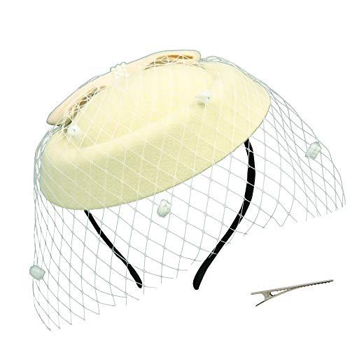 Umeepar Damen Bowknot Pillbox Fascinator Hut Hochzeit Tea Party Hüte mit Schleier Stirnband Clip...