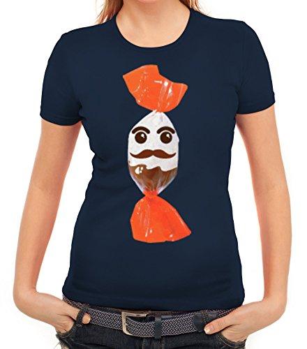 rkleidung Damen T-Shirt Gruppen & Paar Kostüm Schokoladenmännchen, Größe: L,Dunkelblau (Coole Ideen Gruppe Halloween Kostüme)