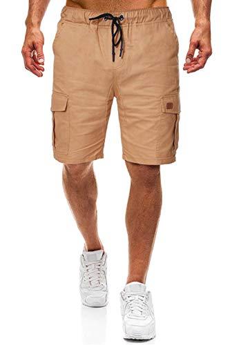 Herren Shorts Kurze Hose Herren Cargo Shorts Bermuda Short Herren Sweatshort Sportshorts Freizeit Laufen Lässige (Khaki, M) (Hose Khaki Herren)