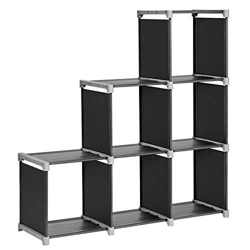 Songmics scaffale portaoggetti a 6 cubi, libreria, organizzatore a forma di scala, in soggiorno, camera per bambini, bagno, per giocattoli e necessità quotidiane, divisorio di stanza, nero lsn63h