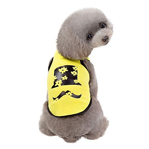 Etophigh Pet Sleeveless T-Shirt Frühling Sommer Kreative Baumwolle Bart Muster Weste für Kleine,Mittlere Hunde Sommer Mantel Welpen Kostüme Outfit Teddy Hundebekleidung,S/M/L/XL/XXL