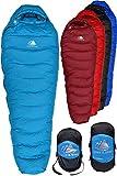 Hyke & Byke Snowmass Saco de Dormir Momia -15 Grados C Ultraligero - Saco de Dormir con Plumón y Bolsa de Compresión Liviana para IR de Excursión y Mochilero (Azul Claro, Largo)
