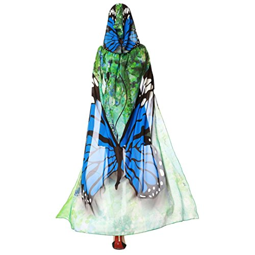 MCYs Damen 140 * 100CM Schmetterlings Flügel Schal feenhafte Nymphe Pixie Cosplay Weihnachten Cosplay Kostüm Zusatz Party Kapuzen Chiffon Karneval Fasching Kostüm Cape mit Kapuze (Blau)