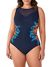 acf7400b6c Miraclesuit 6518870W Women's Samoan Sunset Fascination Midnight Blue Floral  Underwired Shaping Swimsuit