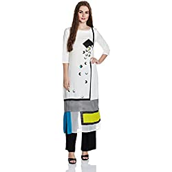 W for Woman Women's Straight Kurta (16AU15957B-57817-18-WHITE)