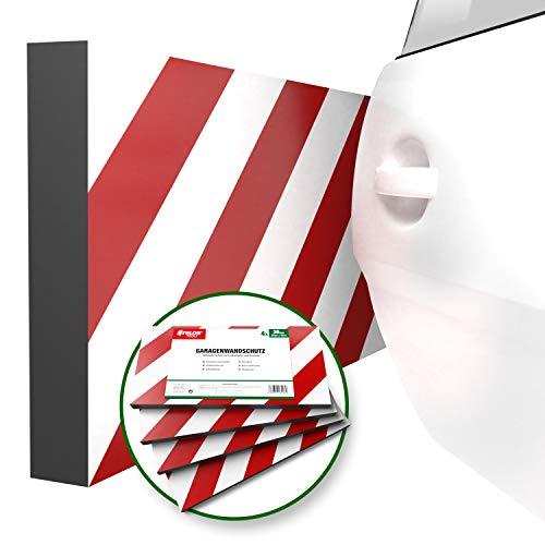 ATHLON TOOLS 4x MaxProtect Premium Garagen-Wandschutz selbstklebend   je 40 x 20 x 2,0 cm  Rammschutz Prallschutz Garagenpolster Türkantenschutz (Rot/Weiß  reflektierend)