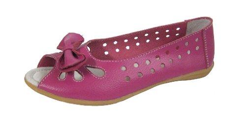 Mesdames Femme Berry Rose Blanc Bleu Marine Bleu Taupe Beige en cuir véritable Plate Décontracté Travail Bureau Peep Toe chaussures Rouge - Rouge framboise