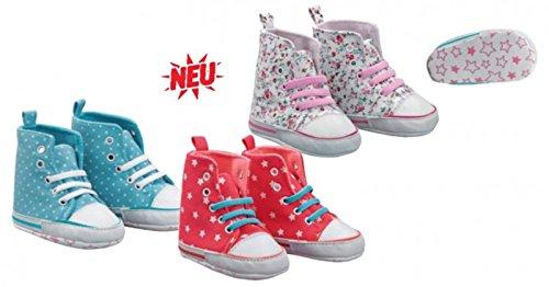 Baby-Sneakers-Schühchen ,,Mädchen'' Baumwolle CH-227 (16-17, Weiß ( Blümchen )) Weiß ( Blümchen )