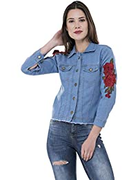 MONTREZ Full Sleeve Applique Women's Denim Jacket
