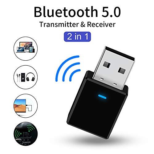 EqWong Mini Bluetooth USB Adapter Sender und Empfänger 2 in 1 USB Bluetooth 5.0 Wireless Adapter für Auto PC TV Lautsprecher Usb Wifi Transmitter