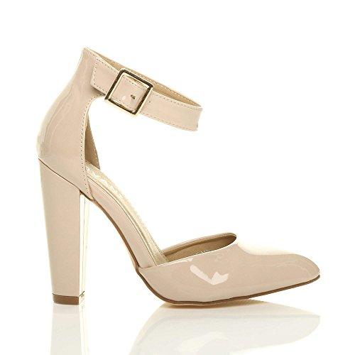 34ef8d02115a5 Large Pointure Pointu Femmes Beige Verni Haute Ajvani Lanière Boucle  Chaussures Talon Escarpins TgSnxBq