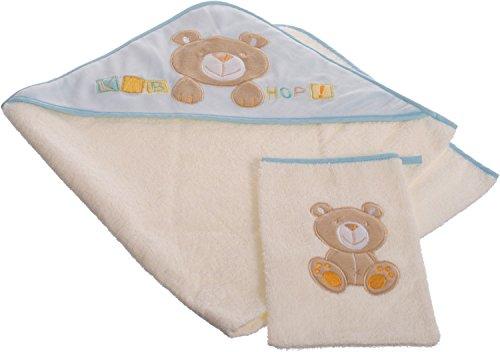 Bieco 38000110 - Baby Kapuzenbadetuch und Waschhandschuh Set Teddy, blau, ca. 100 x 100 cm