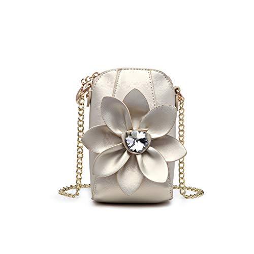 Exing Umhängetasche aus Leder für Damen Umhängetasche 3D Flower Diamond Kette Handtasche Brieftasche Messenger Bag Handytasche für Frauen, Champagne (Gelb) - 100 (Taschen Große Ziploc)