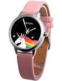 friended Niñas redondo Cartoon Unicorn piel sintética cuarzo estudiantes niños reloj de pulsera, rosa (b)