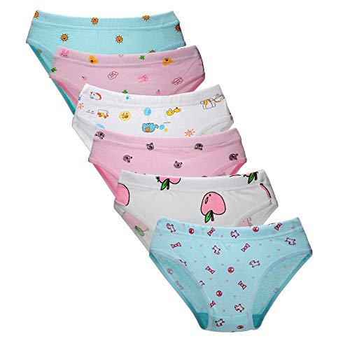 Kidear Weiche Baumwollene Unterwäsche Babys Höschen Slips für Kleine Mädchen (Packung mit 6 Stücken) (6-7 Jahre, Stil1)