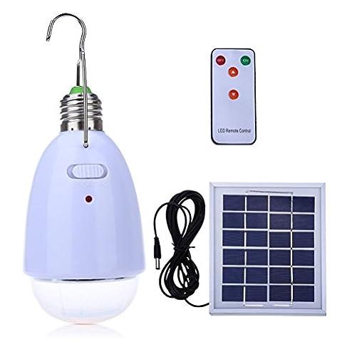 Lampe solaire 12LED E27Ampoule avec panneau solaire et 8metres télécommande extérieur intérieur Wsmy Portable Énergie solaire lampe pour jardin Patio cour pelouse Attentif Camping d'urgence