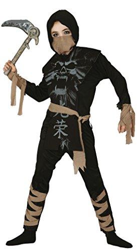 Jungen Skelett Ninja Halloween Samurai Buch Tag Fancy Kleid Kostüm Outfit - Schwarz, 10-12 Jahre (Kostüm Ninja Skelett)