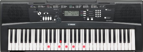 Yamaha Digital Keyboard EZ-220, schwarz - Portables Digital-Keyboard mit USB-to-Host-Anschluss - Keyboard mit 61 anschlagdynamischen Leuchttasten