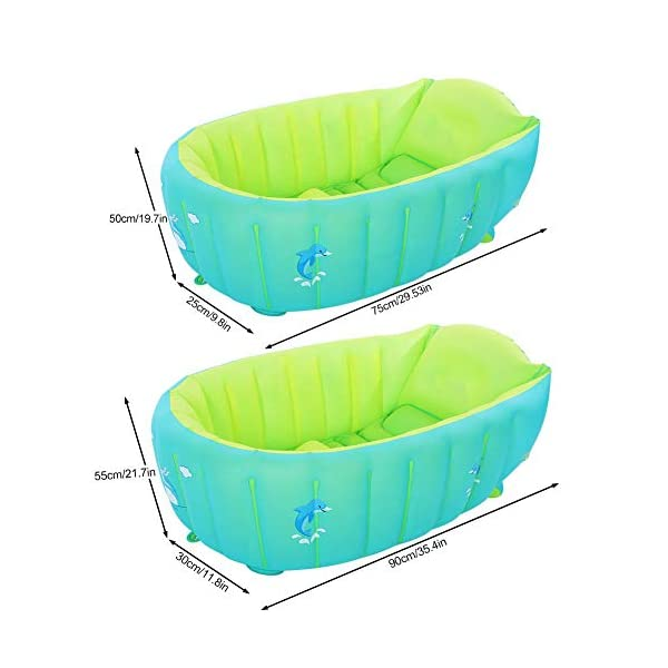 Inflatable Baby Bathtub Foldable Shower Basin for Newborn Foldable Travel Air Shower Basin Seat Baths with Hand Pump 2