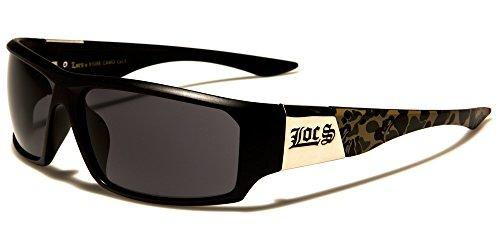LOCS Biker Gangs Sport Sonnenbrille Hardcore Shades Brille Choppers OG (SCHWARZ-CAMO-LC91058)