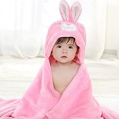 Idea Regalo - Dingang®, telo da bagno per bambini a forma di animale, con cappuccio, in morbidissima flanella, da 0a 6anni rosa 1-Bunny taglia unica