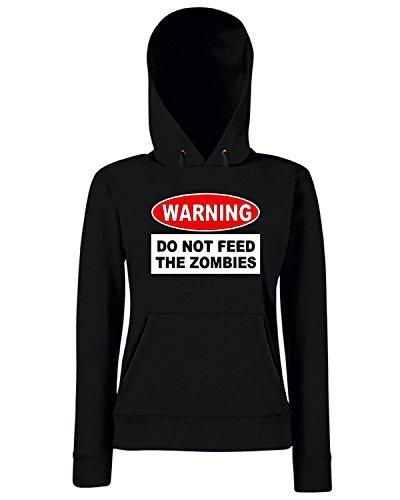 T-Shirtshock - Felpa Donna Cappuccio TZOM0049 warning do not feed the zombies, Taglia L
