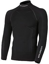 BRUBECK® LS11920 BODYGUARD WOOL Hombres Camisa de manga larga Térmica Merino (Ropa interior Elástica Antibacteriano Anti-alérgica), Tamaño:M;Color:Black
