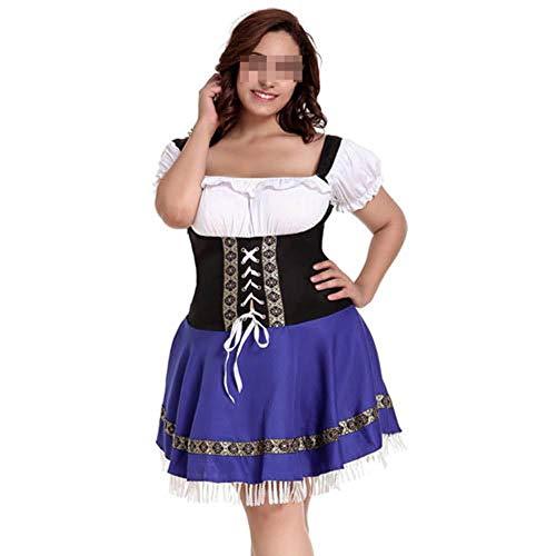 Karoun Sexy Cosplay Kostüme Plus Size 7XL Dirndl Oktoberfest Neu Traje Halloween Sexy Deutsches Bier Mädchen Kostüm,Blue (Deutsch Bier Mädchen Kostüm)